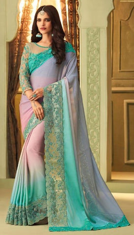 Blue Luxury Silk Party Wear Saree With Blue Blouse