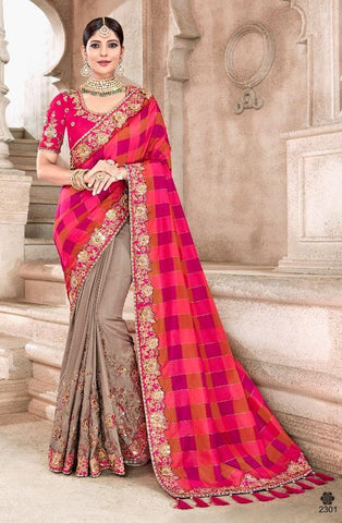 Red Brown Silk Party Wear  Saree With Red Blouse