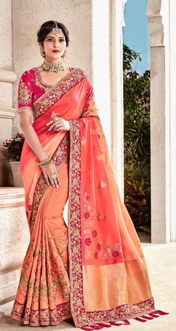 Peach Silk Party Wear  Saree With Pink Blouse