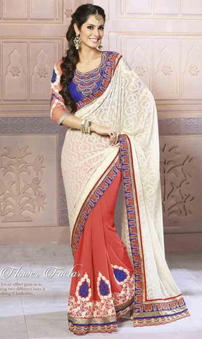 White,Georgette,Jacquard,,Designer saree with heavy work and designer blouse
