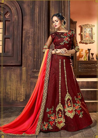 Maroon Silk Lehenga Along With Blouse In Floral Embroidery Along With Shaded Duptta