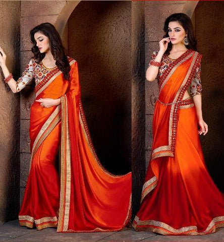 Orange , Red,Georgette,Designer saree with heavy work and designer blouse