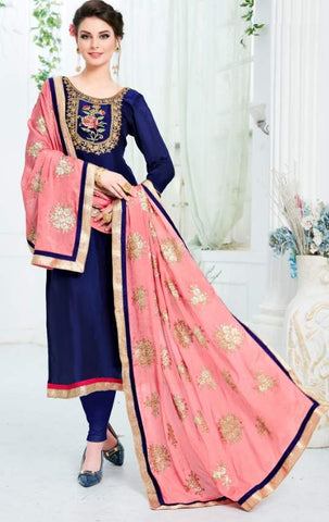 Blue Silk Straight Suit With  Dupatta