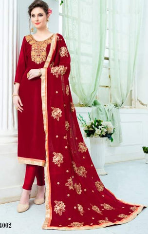 Red Silk Straight Suit With  Dupatta