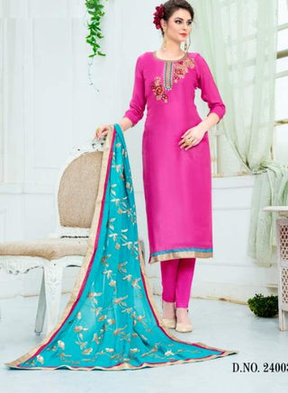 Pink Silk Straight Salwar Kameez With  Dupatta