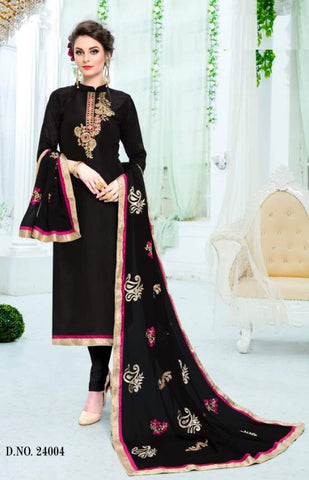 Black Silk Straight Salwar Suit With  Dupatta