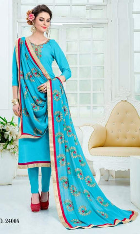 Blue Silk Straight Salwar Suit With  Dupatta