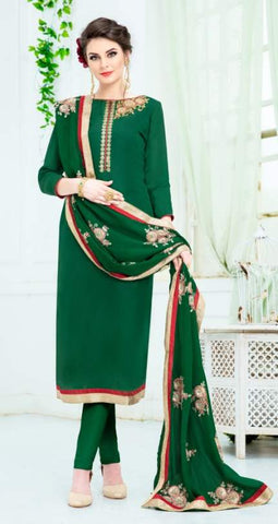 Green Silk Straight Salwar Kameez With  Dupatta