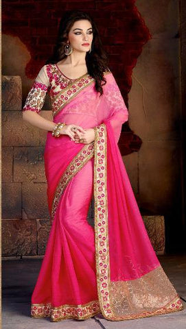 Pink and Beige Saree in Double Shades With Thread Work