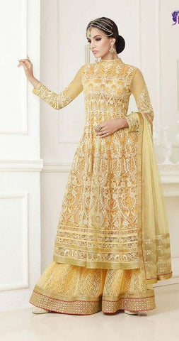 yellow,Net,Heavy party wear designer suits