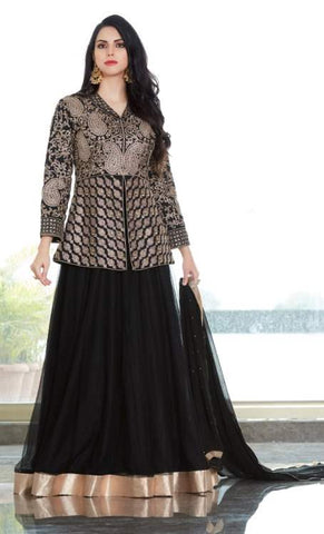 Black Net Party Wear  Lehenga With Black Dupatta