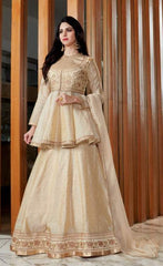 Beige Viscos Party Wear  Lehenga With Beige Dupatta