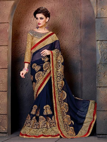 Designer Blue Bamberg Georgette Saree with Heavy Thread Work