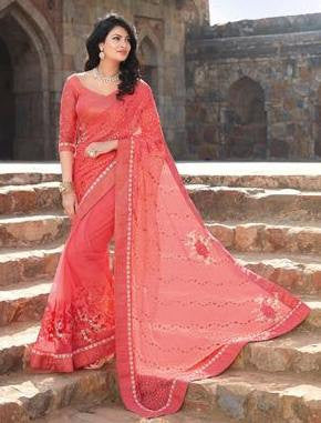 Pink,Brasso,Heavy designer party wear saree