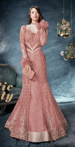 a265a083a Pink Net Party Wear Anarkali Suit With Pink Dupatta
