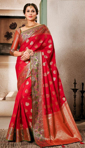 Red Weaving Silk Party Wear Saree With Blouse