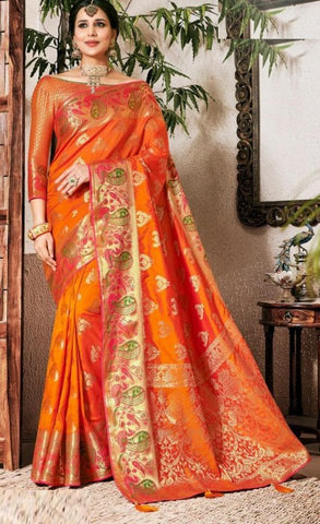 Orange Weaving Silk Party Wear Saree With Blouse