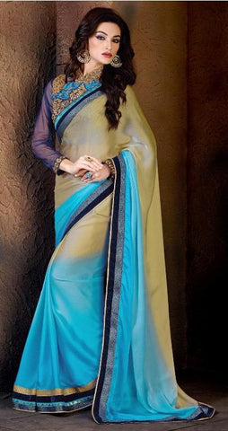 Designer Crepe Chiffon Saree In Double Shades With Thread Lace Border