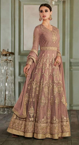 Brandy Rose Net Party Wear  Anarkali Suit With Brandy Rose Dupatta