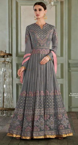 Grey Georgette Party Wear  Anarkali Dress With Grey Dupatta