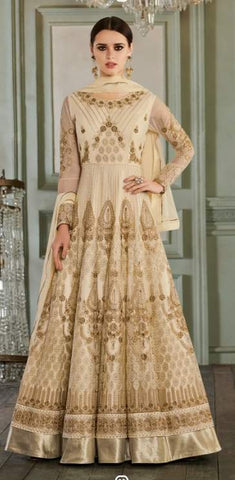 Off White Net Party Wear  Anarkali Suit With Off White Dupatta