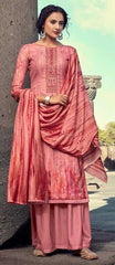 Pastel Pink Pashmina Party Wear Suit With  Dupatta