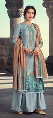 Grey Pashmina Party Wear Suit With  Dupatta