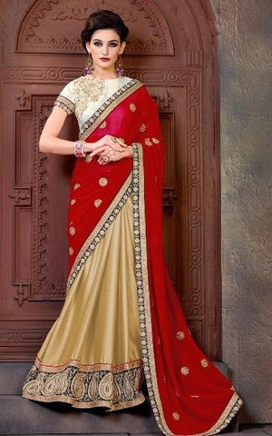 Designer Beige And Red Party Wear Saree