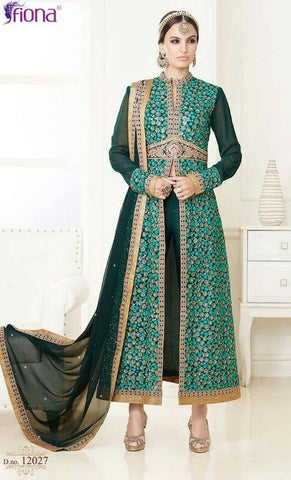 Green,Georgette,Heavy party wear designer suits