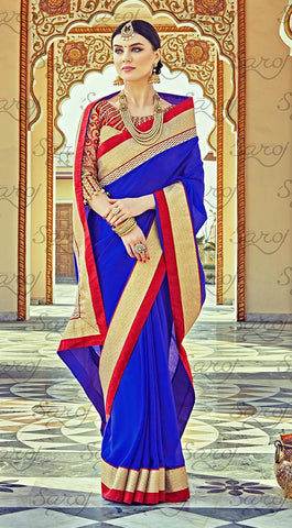 Blue,Satin chiffon,Party wear designer embroidery work saree