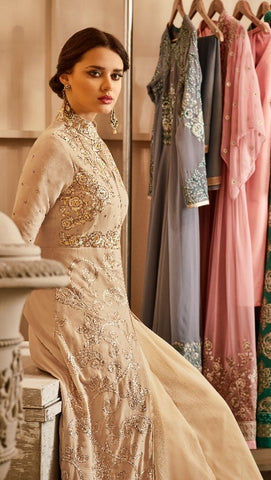 Beige Gown Style Georgette Embroidered Anarkali Dress With Dupatta