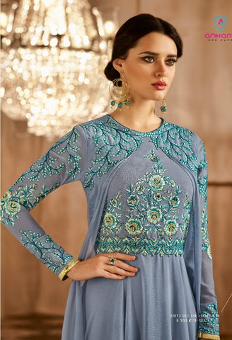 Blue Anarkali Gown Style With Dupatta