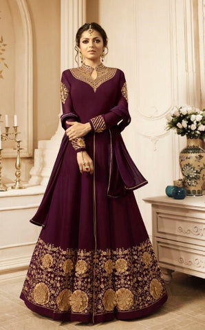 Wine Purple Georgette Party Wear Anarkali Dress With Wine Purple Dupatta