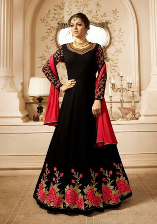 Black Georgette Party Wear Anarkali Suit With Red Dupatta