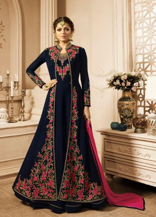 Dark Blue Georgette Party Wear Anarkali Suit With Pink Dupatta