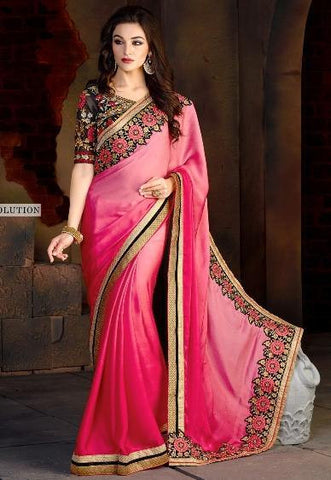 Designer Pink Saree in Double Shades And Stone Work