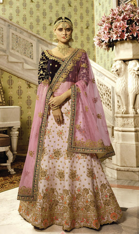 Satin Silk Bridal Light Lehenga With Purple Embroidered Blouse And Heavy Bordered Duptta