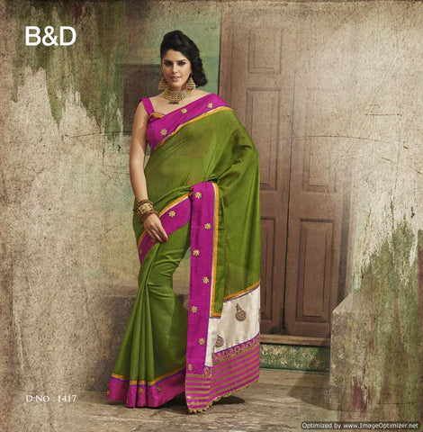 Green Bhgalpuri Silk Saree with hand work and Embroidery