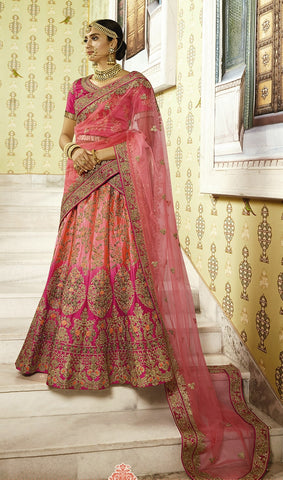 Pink Tone Bridal Silk Lehenga With Heavy Embroidery,   Dark Pink Choli And Heavy Bordered Dupatta