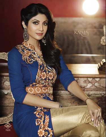 Blue and Beige Georgette Anarkali Suit