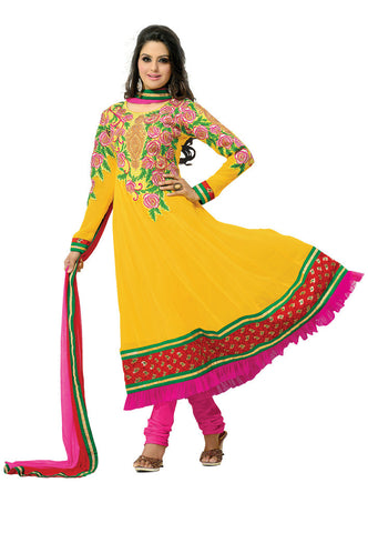 Yellow Georgette Party Wear suits