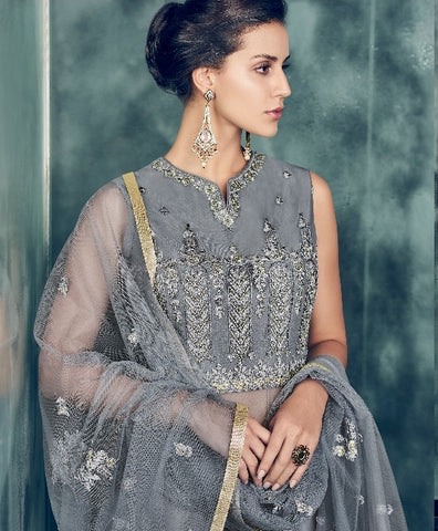 Grey Net Party Wear  Anarkali Dress With Grey Dupatta