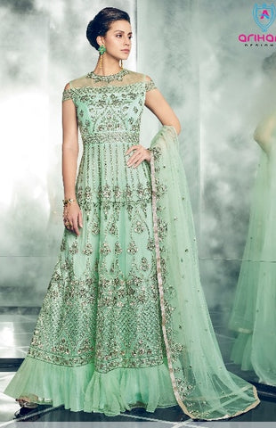 Sea Blue Net Party Wear  Anarkali Suit With Sea Blue Dupatta