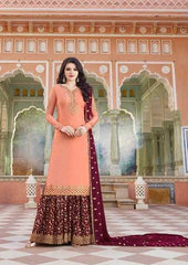 Pink Heavy Satin  Party Wear Salwar Suit With  Dupatta