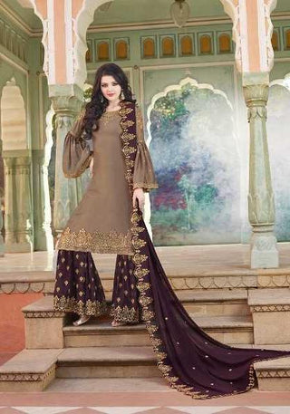 Brownish Grey Heavy Satin  Party Wear Suit With  Dupatta