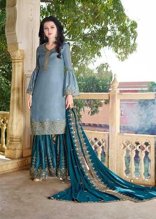 Blue Heavy Satin  Party Wear Suit With  Dupatta