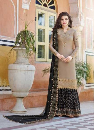 Brownish Grey Heavy Satin  Party Wear Salwar Suit With  Dupatta