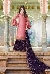 Pink Heavy Satin  Party Wear Salwar Kameez With  Dupatta
