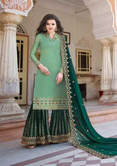 Green Heavy Satin  Party Wear Salwar Suit With  Dupatta