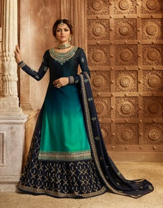 Dark Blue Rangoli Shaded Sharara Salwar Kameez With  Dupatta